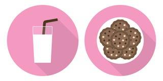 Επίπεδη απεικόνιση καθορισμένη - ποτήρι του γάλακτος και των μπισκότων Στοκ εικόνα με δικαίωμα ελεύθερης χρήσης