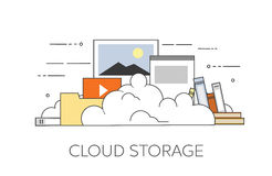 Επίπεδη απεικόνιση σχεδίου ασφάλειας αποθήκευσης σύννεφων στοιχείων συσκευών υπολογιστών Στοκ Εικόνες