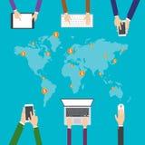 Επίπεδη απεικόνιση σχεδίου, Διαδίκτυο που ψωνίζει, ηλεκτρονικό εμπόριο κοινωνικές δίκτυα μέσων και έννοια επικοινωνίας απεικόνιση αποθεμάτων