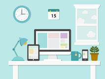 Επίπεδη απεικόνιση σχεδίου του σύγχρονου γραφείου Στοκ εικόνες με δικαίωμα ελεύθερης χρήσης