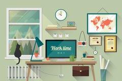 Επίπεδη απεικόνιση σχεδίου του σύγχρονου εργασιακού χώρου Στοκ εικόνα με δικαίωμα ελεύθερης χρήσης