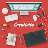 Επίπεδη απεικόνιση σχεδίου: Δημιουργικό γραφείο Στοκ φωτογραφία με δικαίωμα ελεύθερης χρήσης
