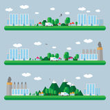 Επίπεδη απεικόνιση τοπίων σχεδίου Στοκ εικόνα με δικαίωμα ελεύθερης χρήσης