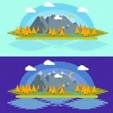 Επίπεδη απεικόνιση τοπίων φύσης σχεδίου με τα βουνά, τους λόφους και τα σύννεφα Στοκ Εικόνες