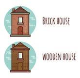 Επίπεδη απεικόνιση ύφους με το τούβλο και το ξύλινο σπίτι διάνυσμα Απεικόνιση αποθεμάτων