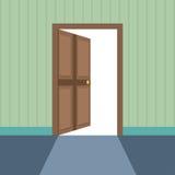 Επίπεδη απεικόνιση ύφους της ανοιχτής πόρτας Στοκ εικόνες με δικαίωμα ελεύθερης χρήσης