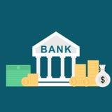 Επίπεδη απεικόνιση ύφους της τράπεζας και των χρημάτων Στοκ Φωτογραφία