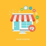 Επίπεδη απεικόνιση on-line αγορών Στοκ Εικόνα