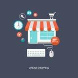 Επίπεδη απεικόνιση on-line αγορών Στοκ εικόνα με δικαίωμα ελεύθερης χρήσης