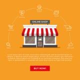Επίπεδη απεικόνιση storefront και γραμμικά εικονίδια καθορισμένες ελεύθερη απεικόνιση δικαιώματος