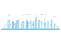 Επίπεδη αστική εικονική παράσταση πόλης ύφους σχεδίου γραμμών κτήμα έννοιας πραγματικό απεικόνιση αποθεμάτων