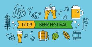 Επίπεδη γραμμική απεικόνιση ύφους για το πιό oktoberfest ή φεστιβάλ τζιτζίφων Ελεύθερη απεικόνιση δικαιώματος