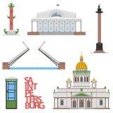 Επίπεδη εικονική παράσταση πόλης Άγιος-Πετρούπολη διανυσματική απεικόνιση για το σχέδιο ο ιστοχώρος ή οι δημοσιεύσεις σας Στοκ Εικόνες