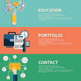 Επίπεδη επιχειρησιακό χαρτοφυλάκιο ύφους, επαφή και έννοια εκπαίδευσης Πρότυπα εμβλημάτων Ιστού καθορισμένα Στοκ Εικόνες