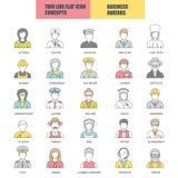Επίπεδη λεπτή συλλογή εικονιδίων γραμμών των ειδώλων ανθρώπων διανυσματική απεικόνιση