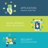 Επίπεδη ερευνητική ανάπτυξη ασφάλειας εφαρμογής ύφους infographic Στοκ φωτογραφία με δικαίωμα ελεύθερης χρήσης