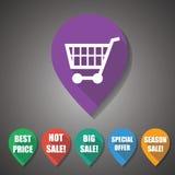 Επίπεδη ετικέττα σχεδίου αγορών & πώλησης στοκ εικόνες
