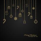 Επίπεδη ευχετήρια κάρτα Χριστουγέννων με τα χρυσά μπιχλιμπίδια Μαύρη ανασκόπηση ελεύθερη απεικόνιση δικαιώματος