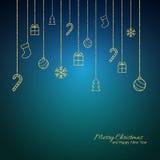 Επίπεδη ευχετήρια κάρτα Χριστουγέννων με τα χρυσά μπιχλιμπίδια πρόσκληση συγχαρητηρίων καρτών ανασκόπησης απεικόνιση αποθεμάτων