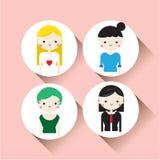 Επίπεδη διανυσματική ένταση εικονιδίων κοριτσιών χαρακτήρα 1 Στοκ Εικόνες