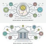 Επίπεδη διανυσματική απεικόνιση έννοιας επένδυσης και διοίκησης επιχειρήσεων γραμμών Σύγχρονα λεπτά γραμμικά διανυσματικά εικονίδ Στοκ Εικόνες