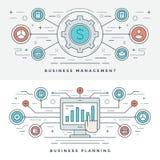 Επίπεδη διανυσματική απεικόνιση έννοιας διοίκησης επιχειρήσεων και προγραμματισμού γραμμών Σύγχρονα λεπτά γραμμικά διανυσματικά ε Στοκ εικόνες με δικαίωμα ελεύθερης χρήσης