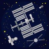 Επίπεδη διανυσματική απεικόνιση Διεθνών Διαστημικών Σταθμών Στοκ Εικόνες