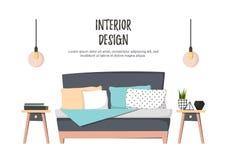 Επίπεδη διανυσματική απεικόνιση - εγχώριο εσωτερικό Άνετη κρεβατοκάμαρα με το κρεβάτι, Στοκ Φωτογραφία