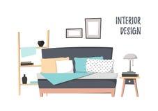 Επίπεδη διανυσματική απεικόνιση - εγχώριο εσωτερικό Άνετη κρεβατοκάμαρα με το κρεβάτι, Στοκ εικόνες με δικαίωμα ελεύθερης χρήσης