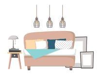 Επίπεδη διανυσματική απεικόνιση - εγχώριο εσωτερικό σχέδιο Άνετα WI κρεβατοκάμαρων Στοκ Εικόνα