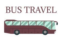 Επίπεδη διανυσματική απεικόνιση λεωφορείων τουριστών Στοκ Φωτογραφία