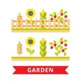 Επίπεδη διανυσματική απεικόνιση κήπων Στοκ Εικόνες