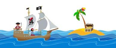 Επίπεδη διανυσματική απεικόνιση κυνηγιού θησαυρών πειρατών Στοκ Φωτογραφία