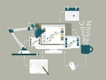 Επίπεδη διανυσματική απεικόνιση σχεδίου εικονιδίων γραφική Στοκ Φωτογραφία