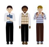 Επίπεδη διανυσματική απεικόνιση σχολικών αγοριών Στοκ Εικόνες