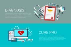 Επίπεδη διανυσματική εμβλημάτων θεραπεία διαγνώσεων εργαστηρίων ιατρικής ιατρική υπέρ Στοκ Εικόνες