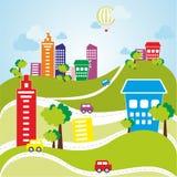 Επίπεδη διανυσματική πόλη χρώματος Στοκ εικόνες με δικαίωμα ελεύθερης χρήσης