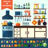 Επίπεδη κουζίνα και χορτοφάγα μαγειρεύοντας εικονίδια Στοκ Εικόνα