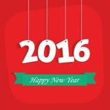 Επίπεδη νέα κάρτα έτους με τον πίθηκο για το έτος 2016 Στοκ Εικόνα