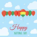 Επίπεδη πατριωτική αφίσα εθνικής μέρας της Βολιβίας Στοκ Φωτογραφίες
