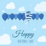 Επίπεδη πατριωτική αφίσα εθνικής μέρας της Ελλάδας Στοκ Εικόνες
