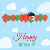 Επίπεδη πατριωτική αφίσα εθνικής μέρας της Ιορδανίας Στοκ φωτογραφία με δικαίωμα ελεύθερης χρήσης