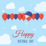 Επίπεδη πατριωτική αφίσα εθνικής μέρας των Φιλιππινών Στοκ φωτογραφία με δικαίωμα ελεύθερης χρήσης