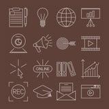 Επίπεδη περιλήψεων εικονιδίων σε απευθείας σύνδεση εκπαίδευσης προσωπικού κατάρτισης βιβλίων διανυσματική απεικόνιση γνώσης εκμάθ Στοκ φωτογραφία με δικαίωμα ελεύθερης χρήσης