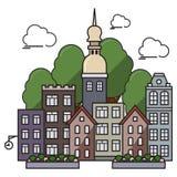 Επίπεδη πόλη με την εκκλησία Στοκ φωτογραφία με δικαίωμα ελεύθερης χρήσης