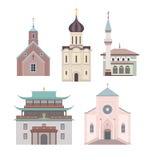 Επίπεδη συλλογή απεικόνισης εκκλησιών ελεύθερη απεικόνιση δικαιώματος