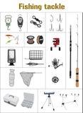 Επίπεδη συλλογή εικονιδίων εξοπλισμών αλιείας Στοκ Φωτογραφίες