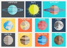 Επίπεδη συλλογή σχεδίου πλανητών για τον Ιστό Στοκ φωτογραφία με δικαίωμα ελεύθερης χρήσης