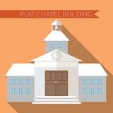 Επίπεδη σύγχρονη διανυσματική απεικόνιση σχεδίου του παρεκκλησιού ή του εικονιδίου οικοδόμησης γαμήλιων εκκλησιών, με τη μακριά σ Στοκ Εικόνες