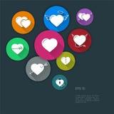 Επίπεδη σύγχρονη διανυσματική απεικόνιση σχεδίου των εικονιδίων καρδιών Στοκ φωτογραφίες με δικαίωμα ελεύθερης χρήσης